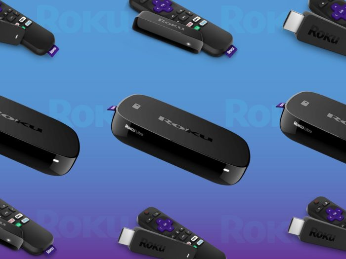 Photo of Roku devices over a blue background.