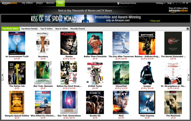 A photo of Amazon Prime Video's website in 2006.