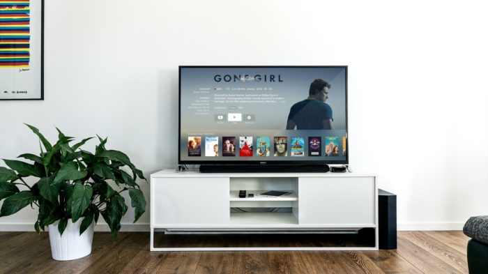 A photo of a smart TV in a living room