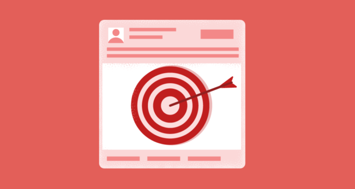 A rendering of an online ad with a target and a bulls-eye.
