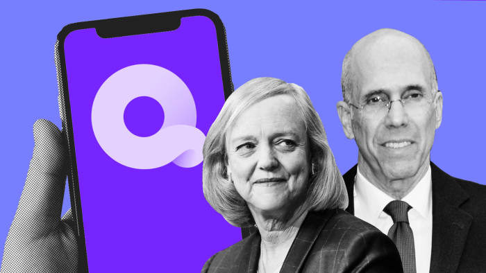 A photo of Quibi leadership, Jeffrey Katzenberg and Meg Whitman.