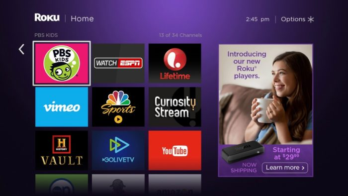 A Roku TV screen, showing an ad for a Roku Player on the sidebar.